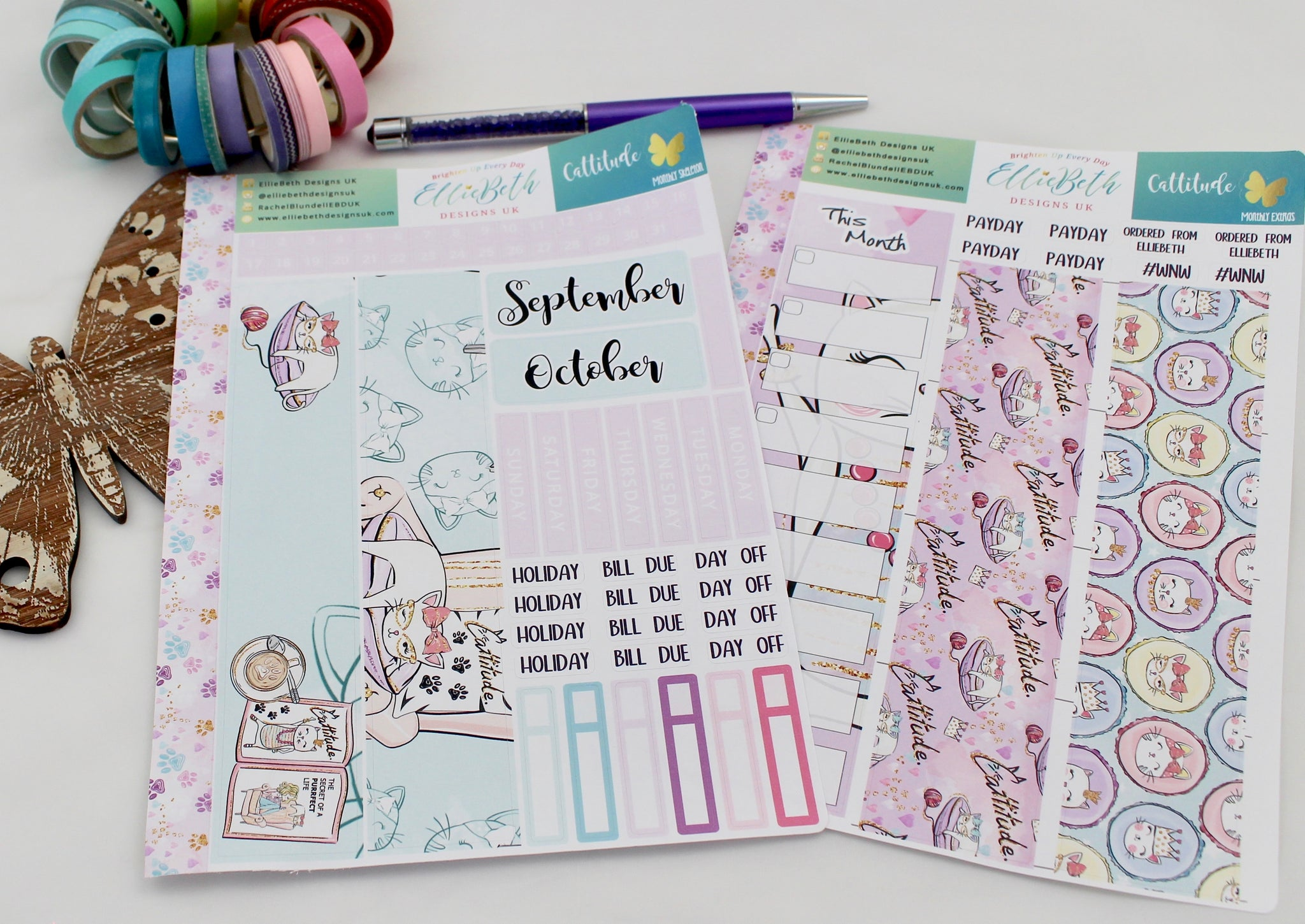 'Cattitude' - Monthly View Kit -  A5 binder ready planner stickers - EllieBeth Designs UK