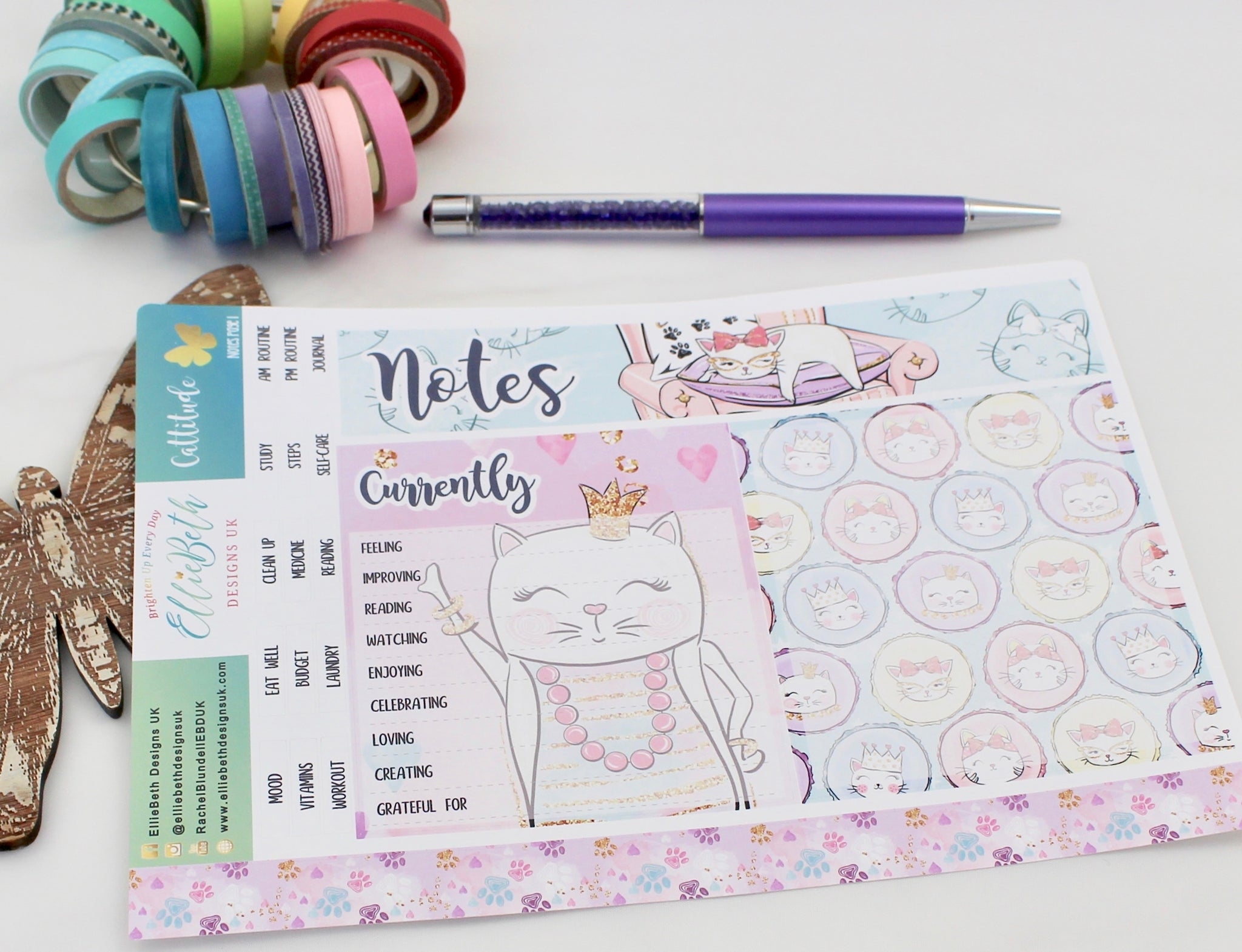 'Cattitude' - Notes Page Kit -  A5 binder ready planner stickers - EllieBeth Designs UK