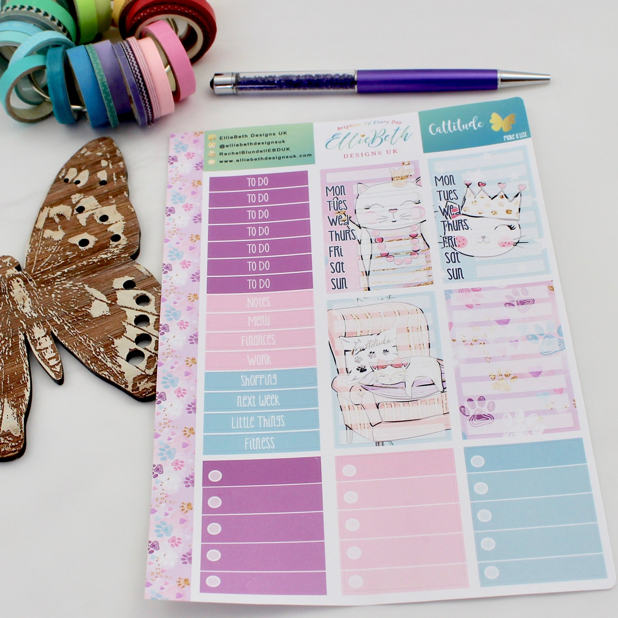 'Cattitude' - Make a List Sheet -  A5 binder ready planner stickers - EllieBeth Designs UK