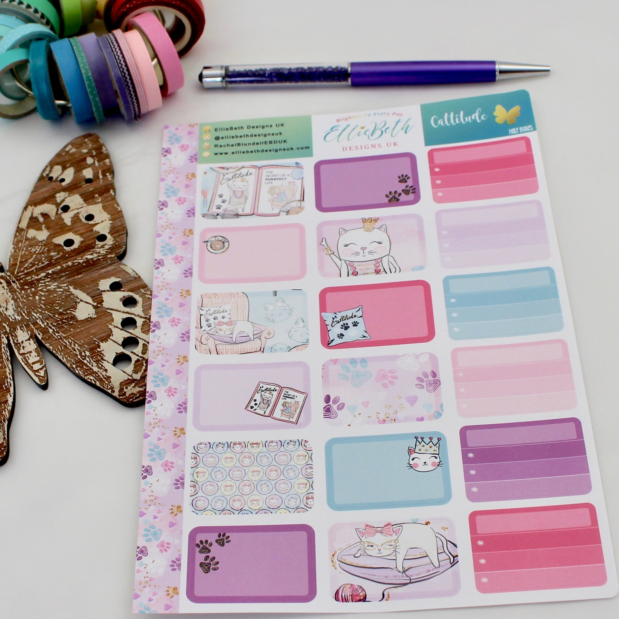 'Cattitude' - Half Boxes -  A5 binder ready planner stickers