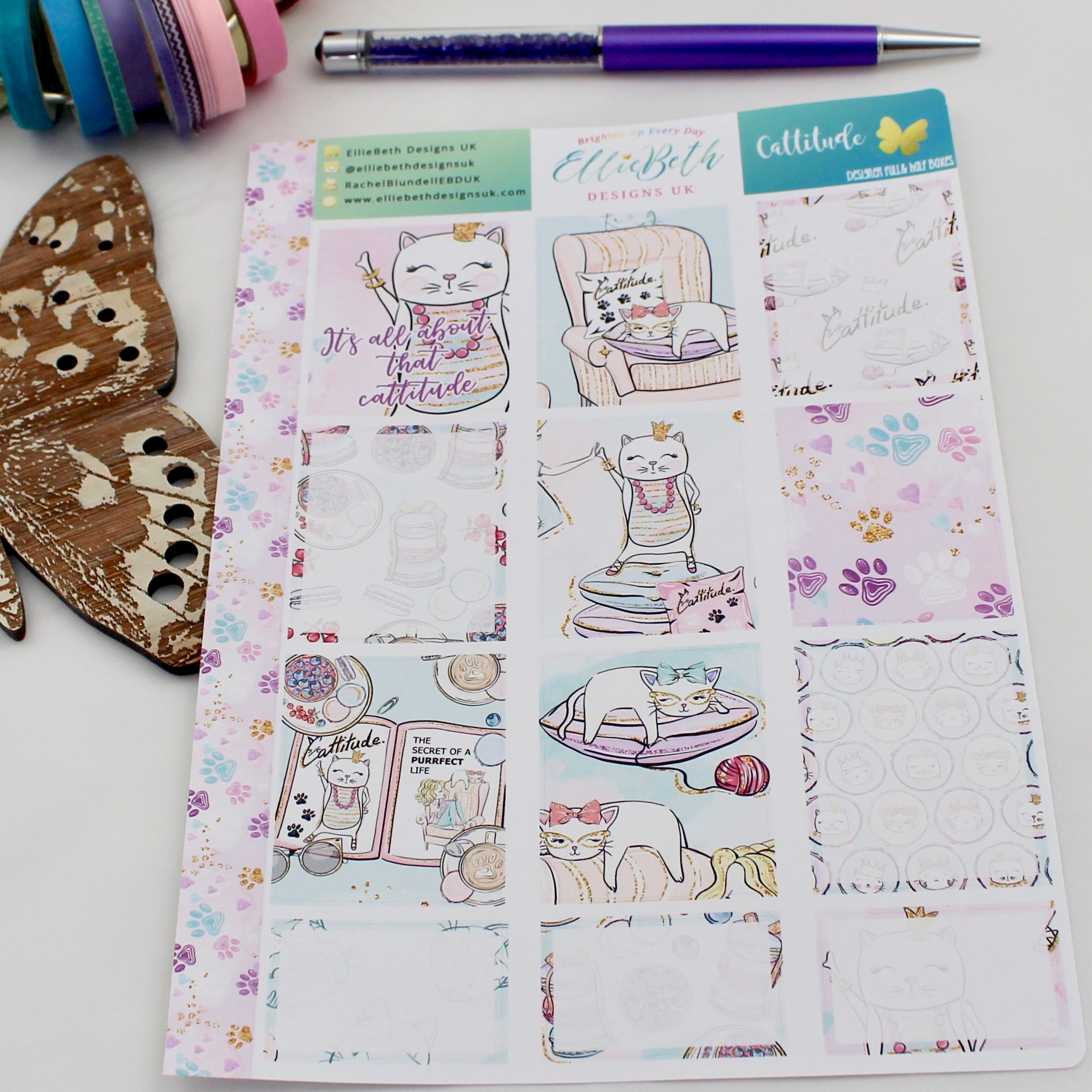 'Cattitude' - Designer Full and Half Boxes Sheet -  A5 binder ready planner stickers - EllieBeth Designs UK