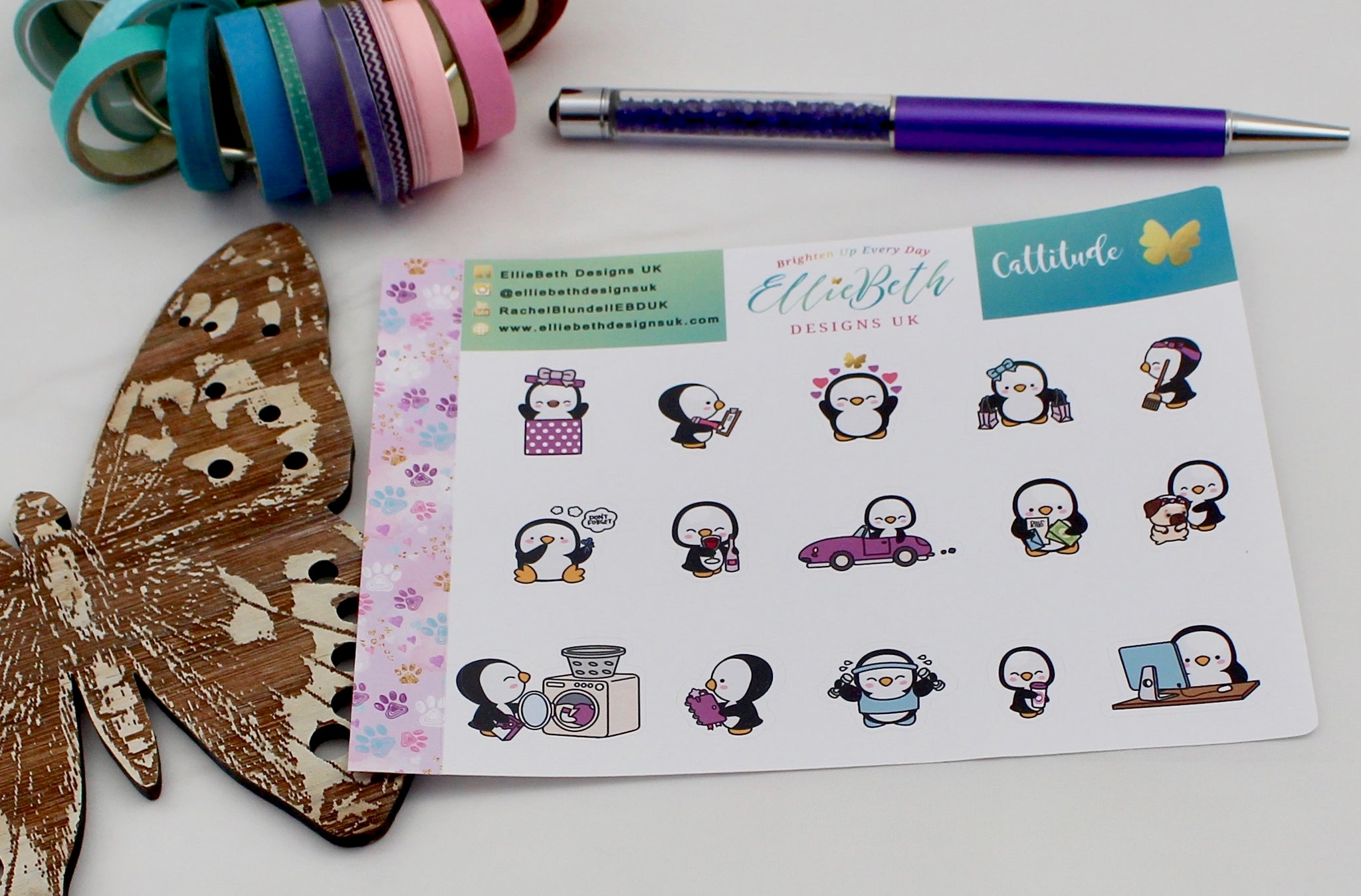 'Cattitude' - A Penguin For Every Occasion -  binder ready planner stickers - EllieBeth Designs UK
