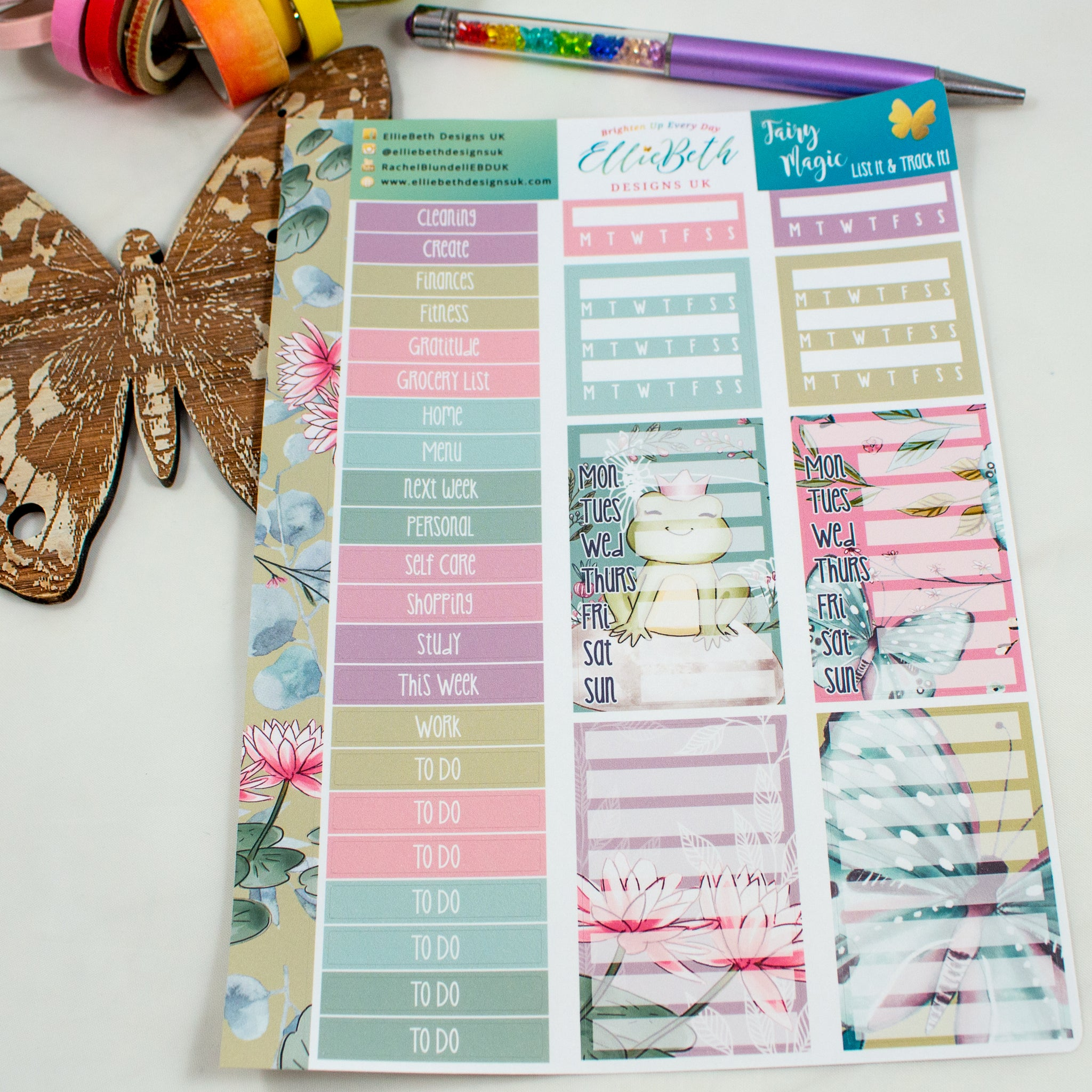 Fairy Magic - List It & Track It -  A5 binder ready planner stickers