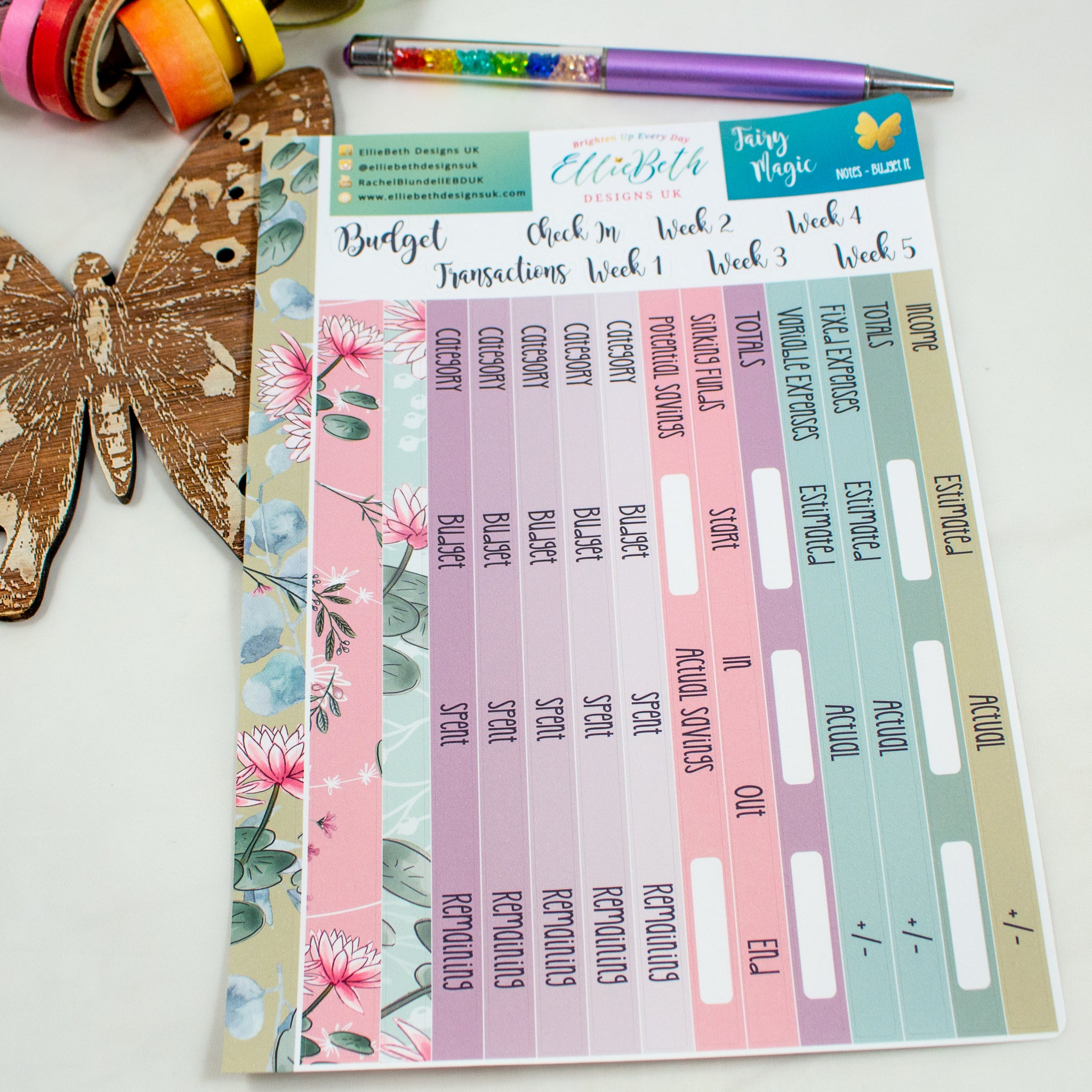 Fairy Magic - Notes 'Budget It' - A5 binder ready planner stickers