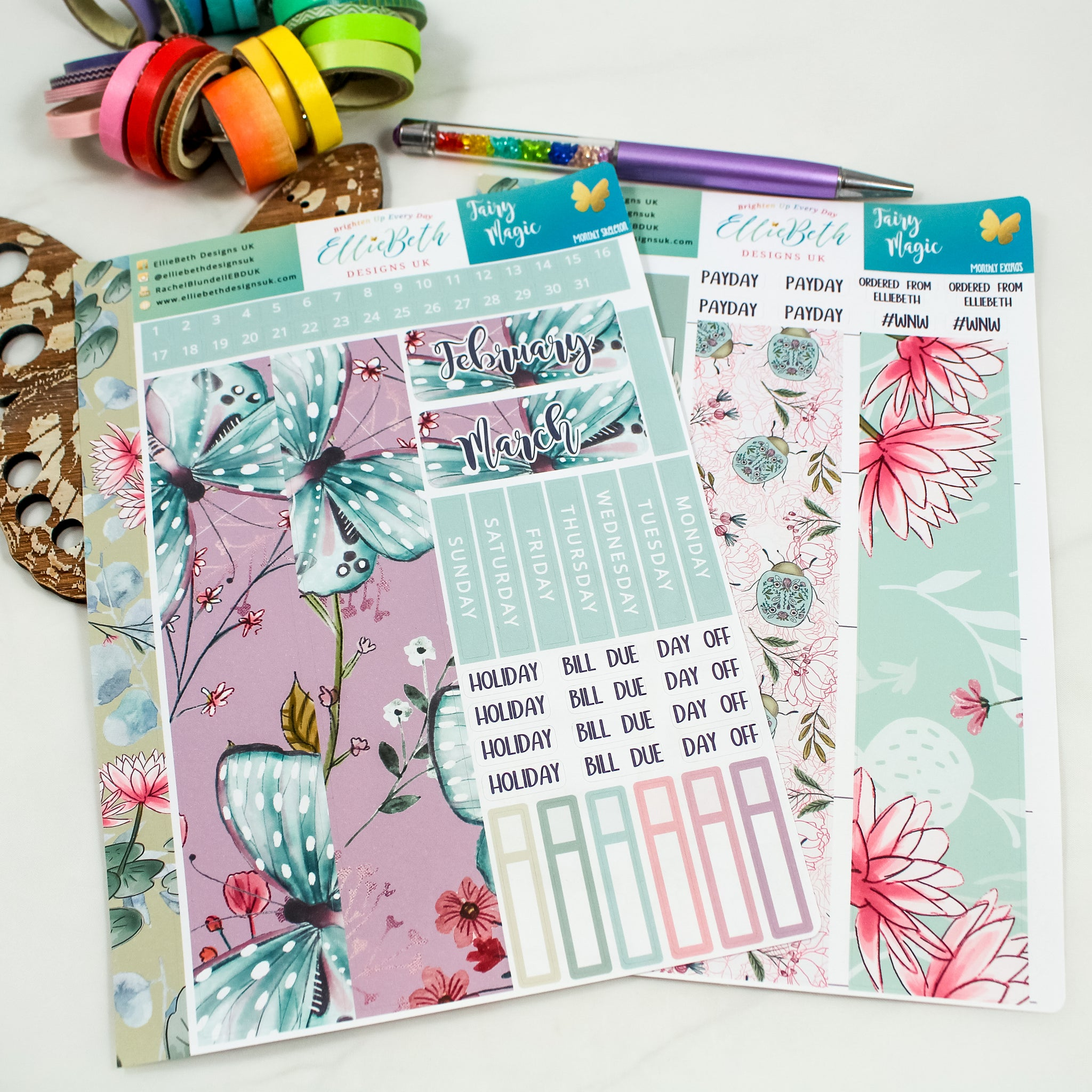 Fairy Magic - Monthly View Kit -  A5 binder ready planner stickers