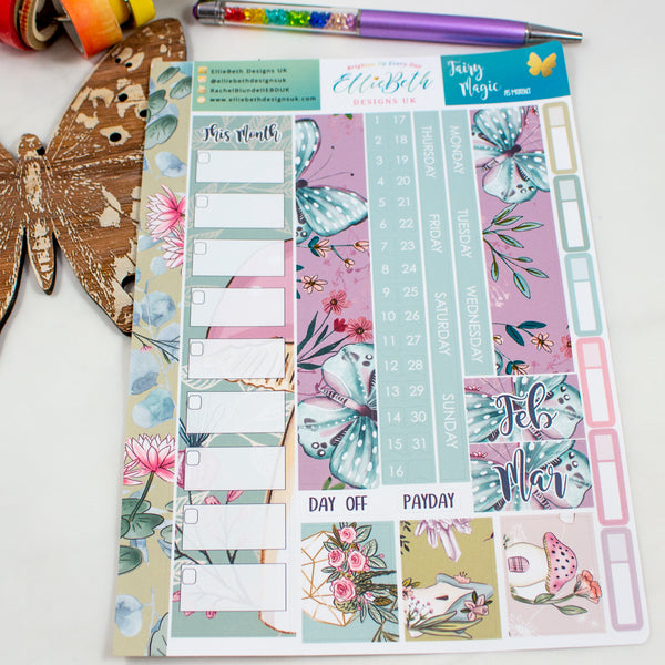 Fairy Magic - A5 Monthly View Kit - A5 binder ready planner stickers