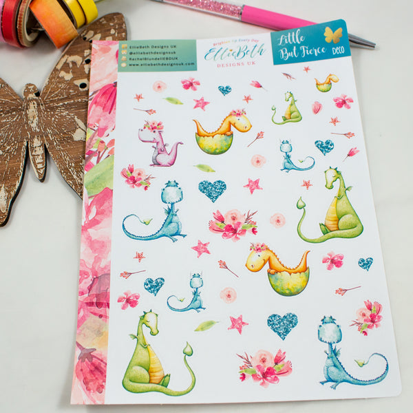 Little But Fierce - Decorative Sheet -  A5 binder ready planner stickers