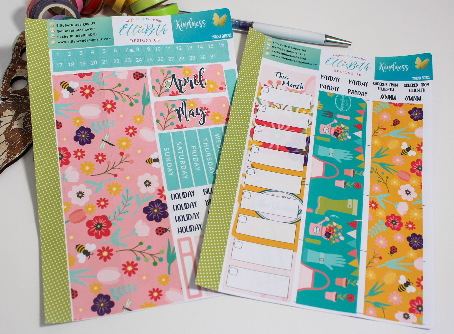 'Kindness' - Monthly View Kit -  A5 binder ready planner stickers