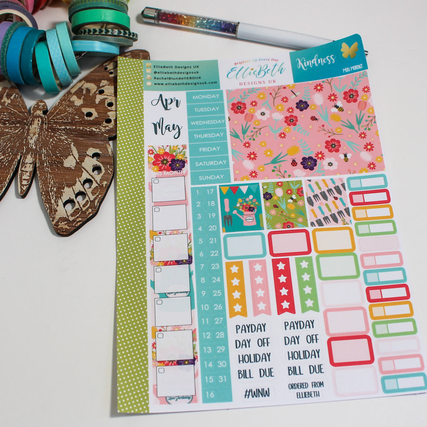 'Kindness' - Mini Monthly (Hobonichi Weeks compatible) - A5 binder ready planner stickers