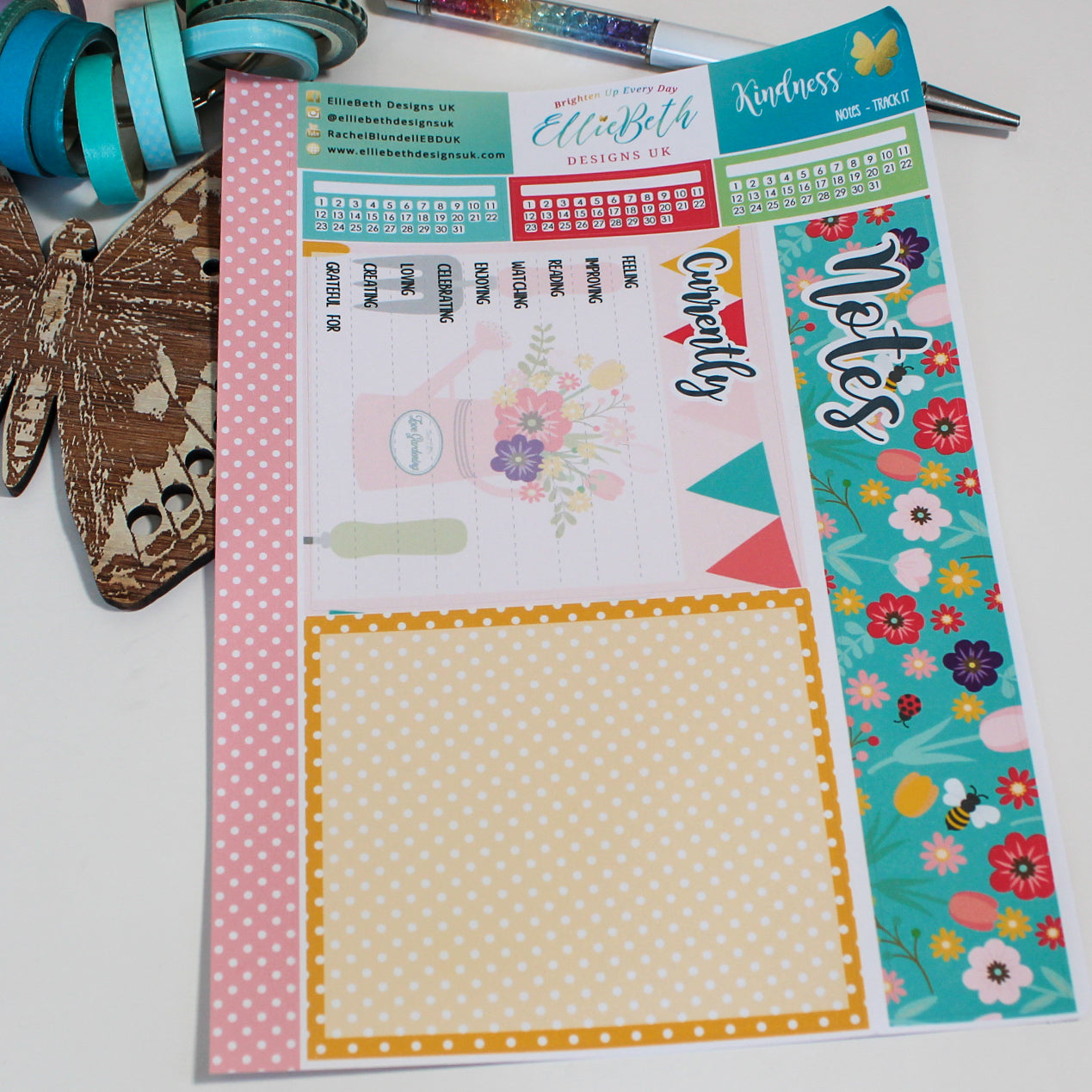 'Kindness' - Notes 'Track It' - A5 binder ready planner stickers