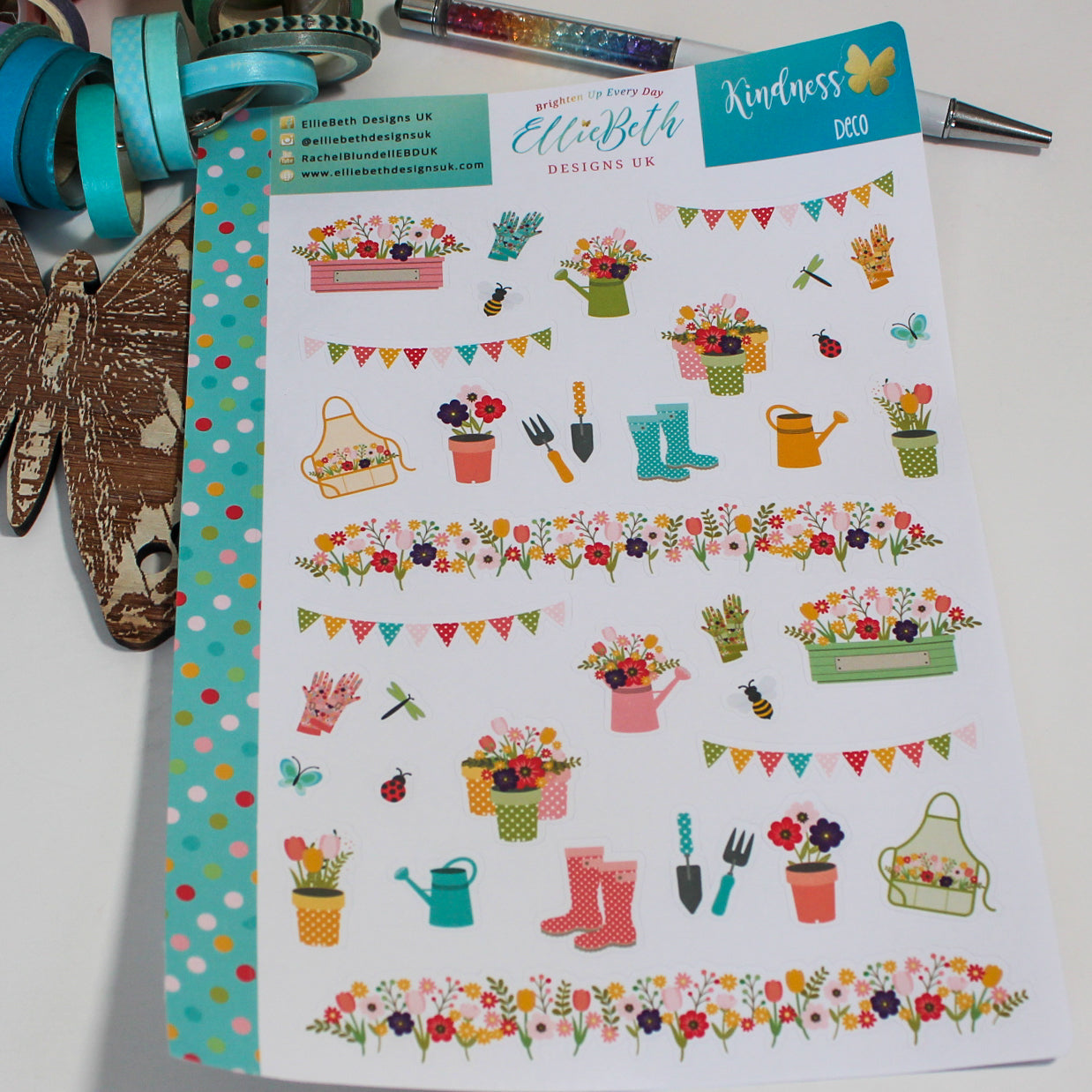 'Kindness' - Decorative Sheet -  A5 binder ready planner stickers