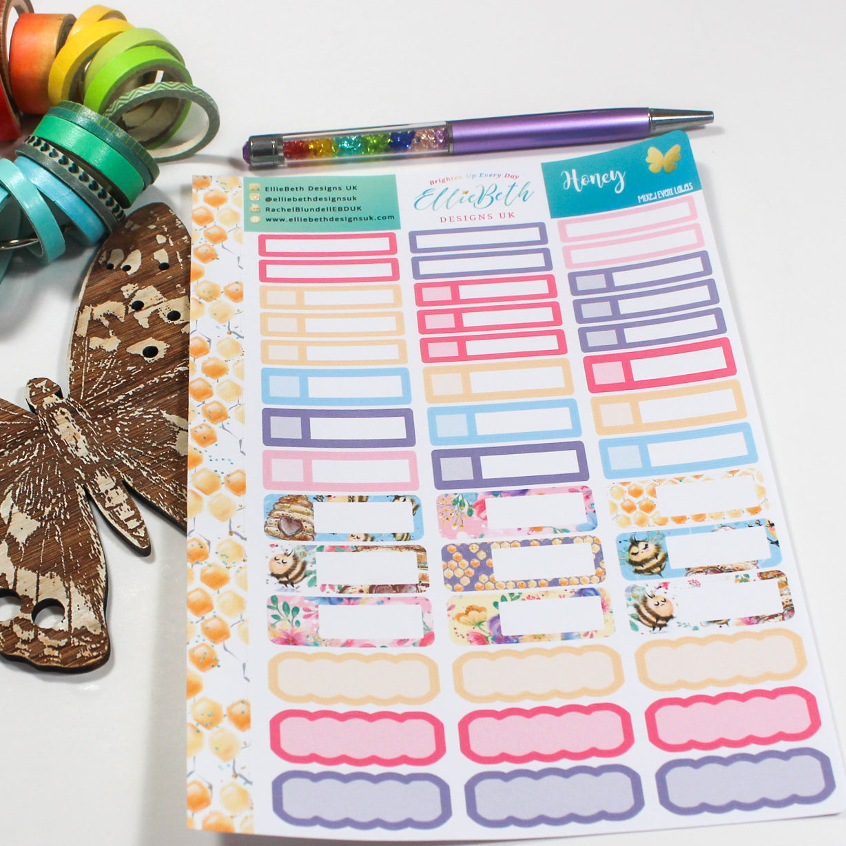 'Honey' - Mixed Event Labels -  A5 binder ready planner stickers