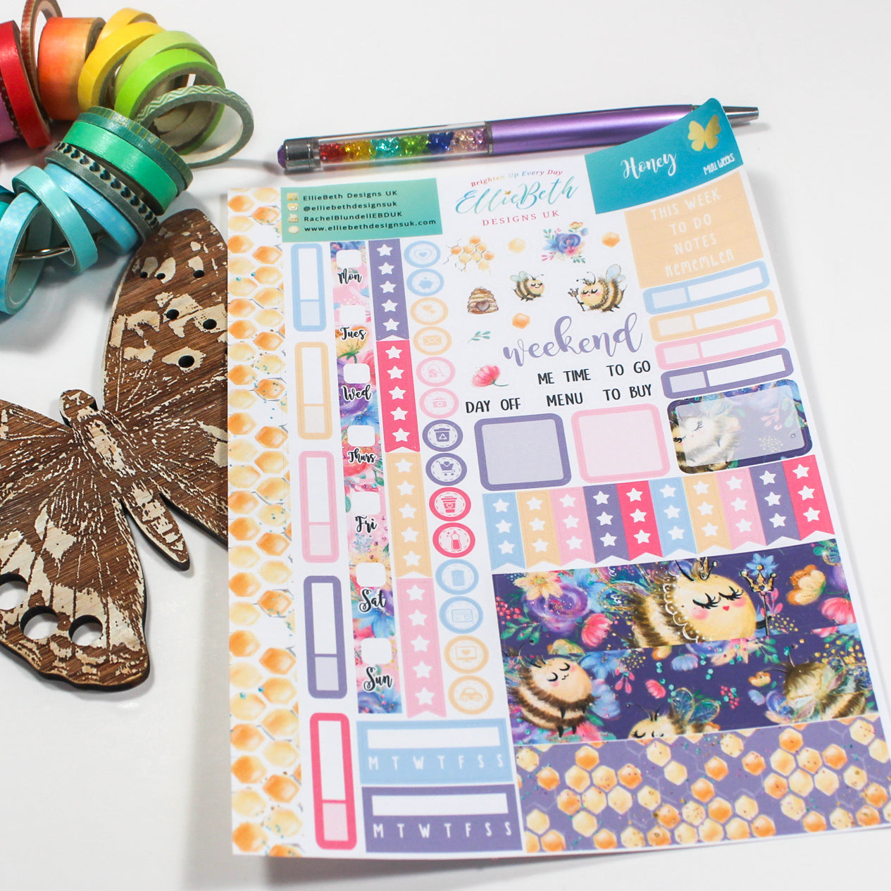 'Honey' - Mini Weeks (Hobonichi compatible) - A5 binder ready planner stickers