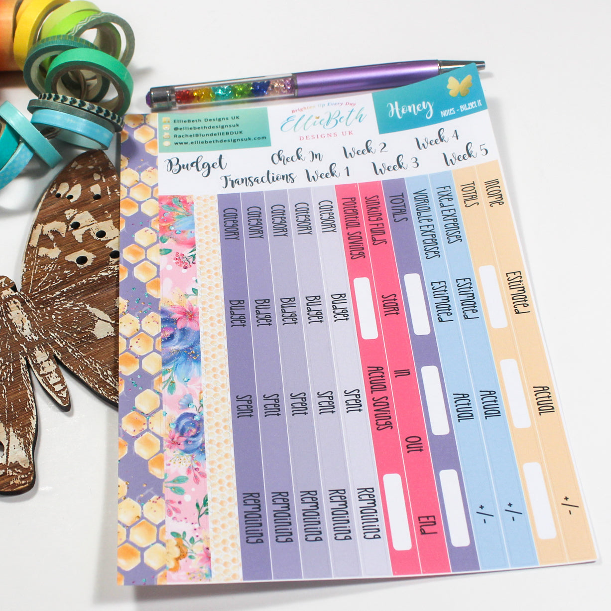 'Honey' - Notes 'Budget It' - A5 binder ready planner stickers