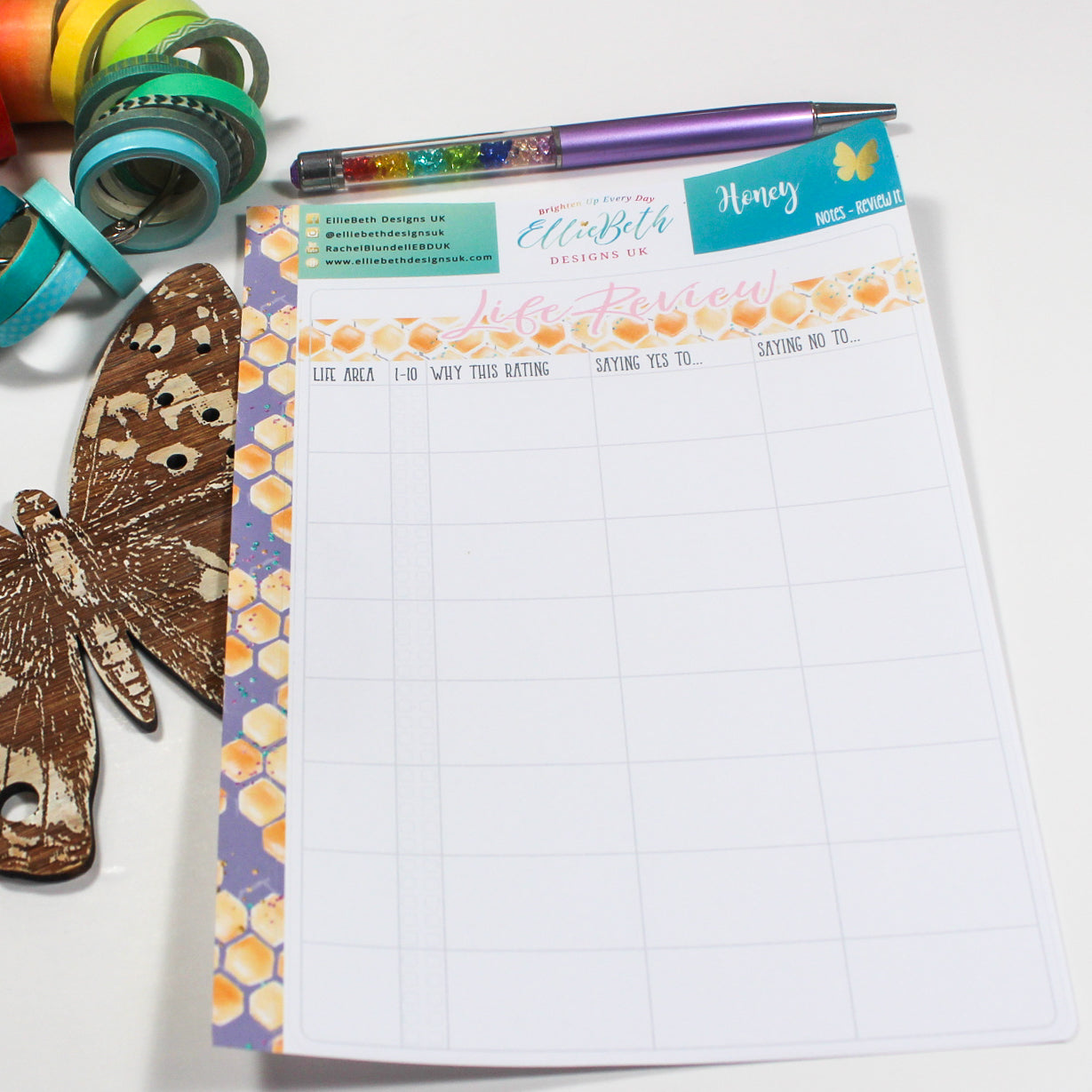 'Honey' - Notes 'Review It' - A5 binder ready planner stickers
