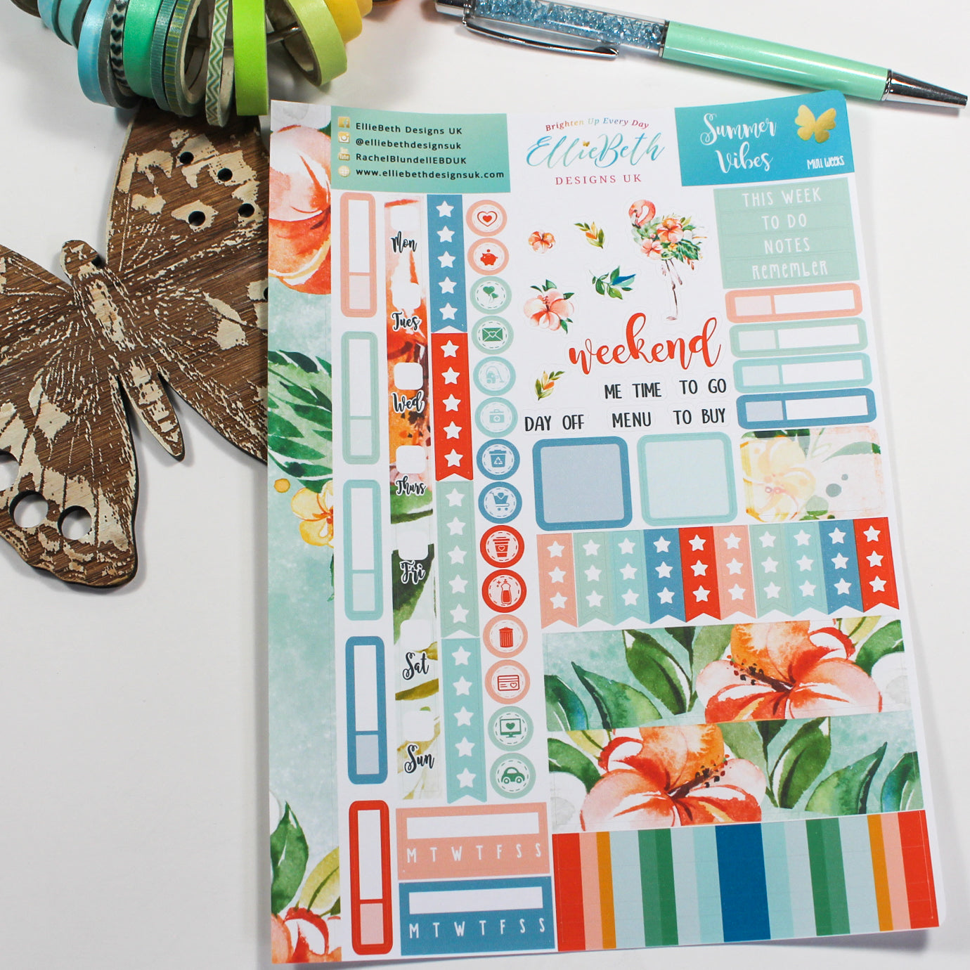 'Summer Vibes' - Mini Weeks (Hobonichi compatible) - A5 binder ready planner stickers