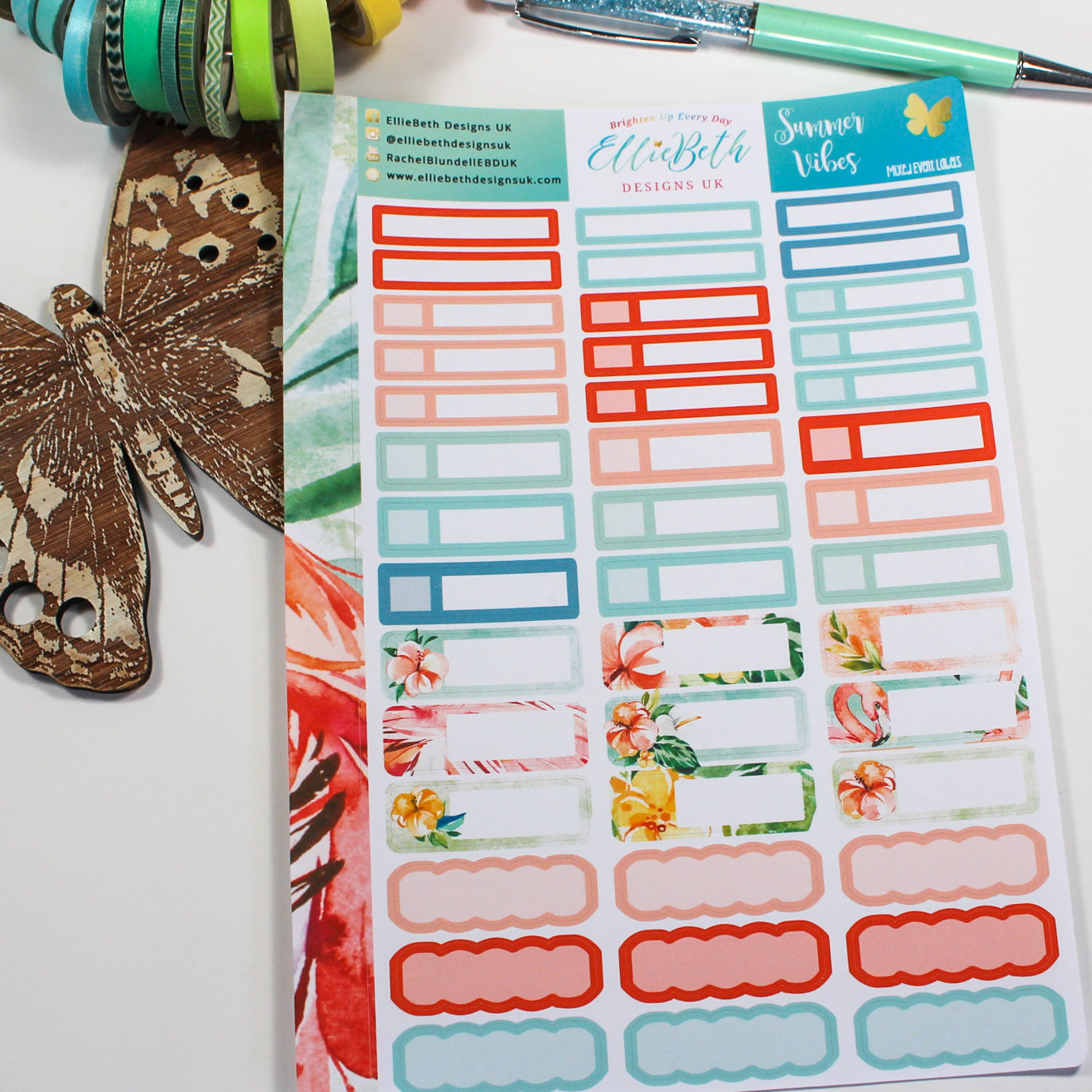 'Summer Vibes' - Mixed Event Labels -  A5 binder ready planner stickers