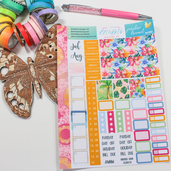'Paradise Dreamed' - Mini Monthly (Hobonichi Weeks compatible) - A5 binder ready planner stickers