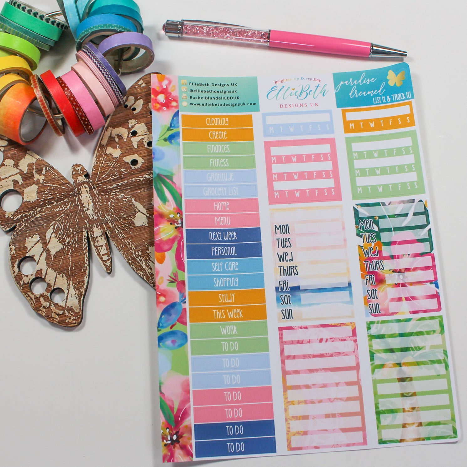 'Paradise Dreamed' - List It & Track It -  A5 binder ready planner stickers