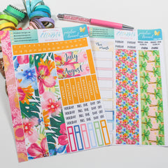 'Paradise Dreamed' - Monthly View Kit -  A5 binder ready planner stickers