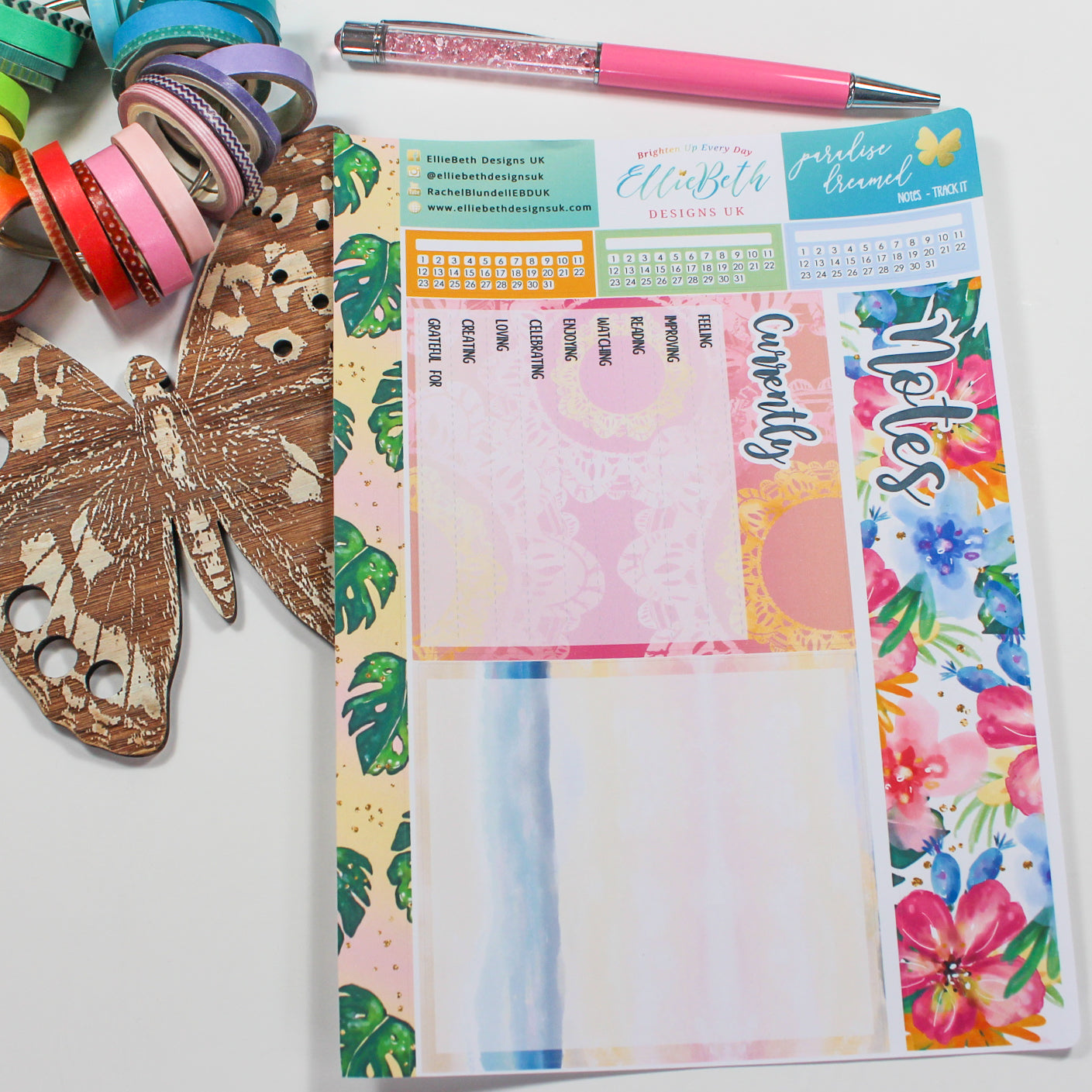 'Paradise Dreamed' - Notes Page Options - A5 binder ready planner stickers