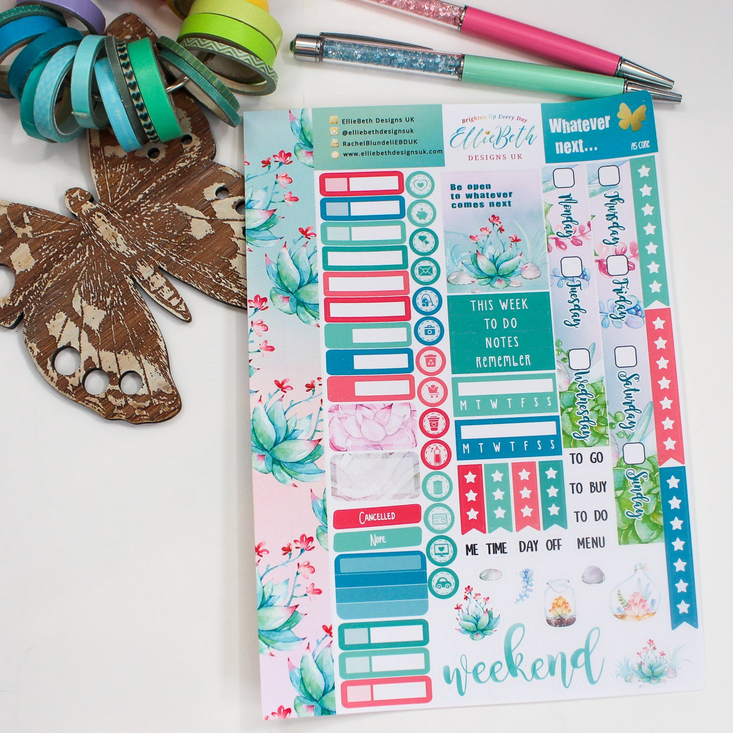 'Whatever Next...' - A5 Core Sheet - A5 binder ready planner stickers