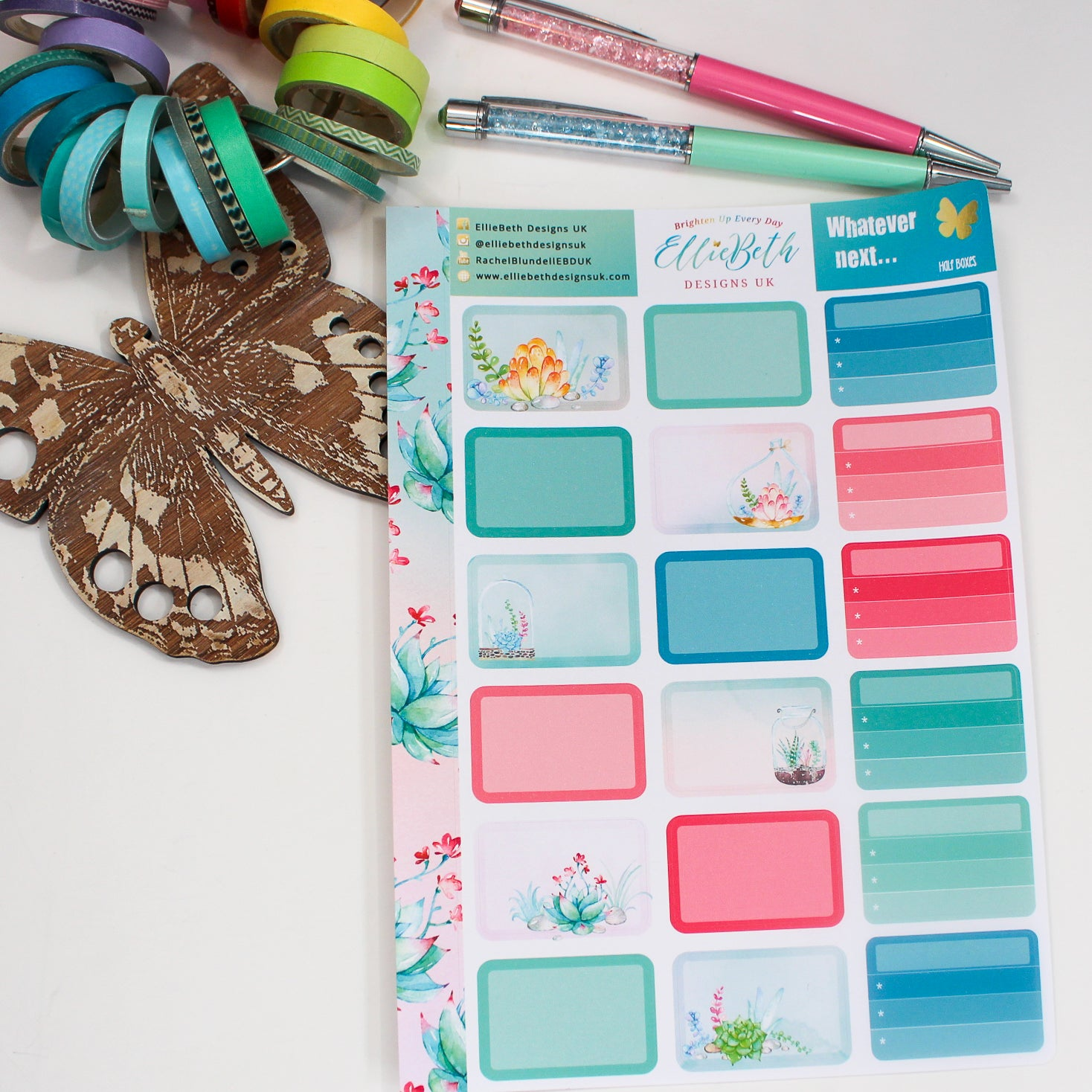 'Whatever Next...' Half Boxes -  A5 binder ready planner stickers