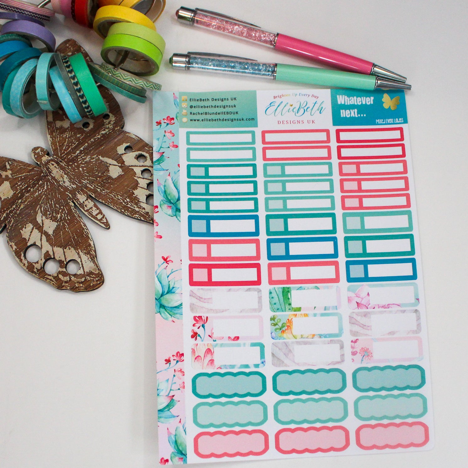 'Whatever Next...' Mixed Event Labels -  A5 binder ready planner stickers