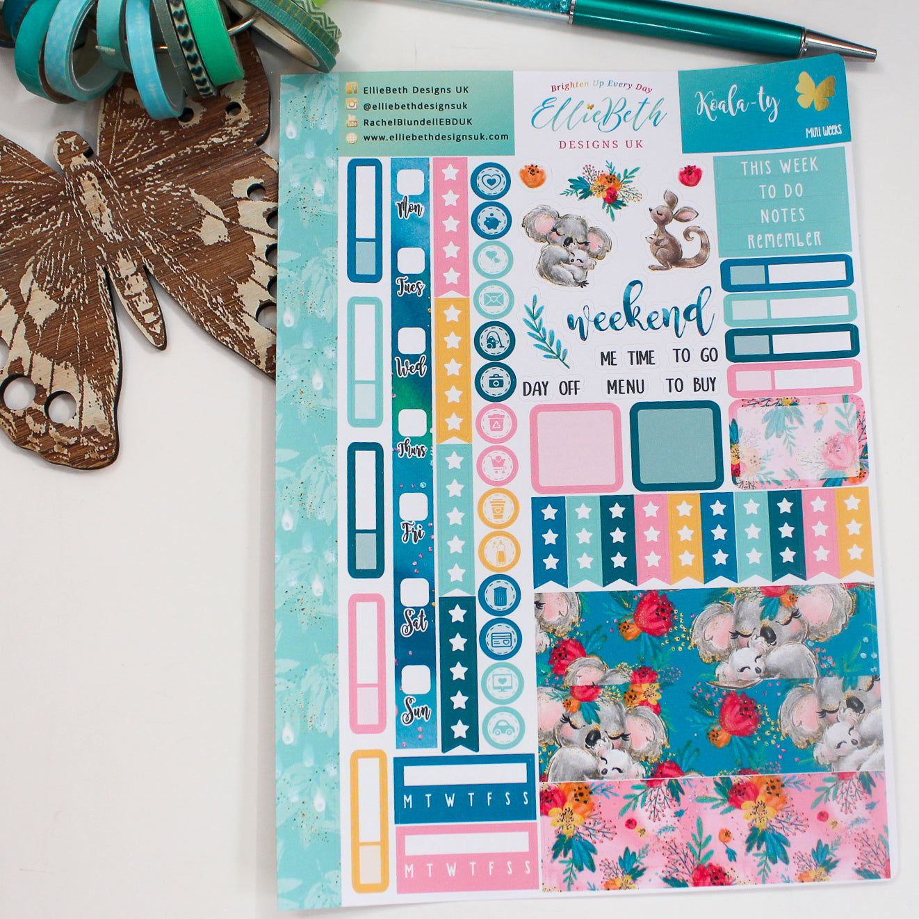 'Koala-ty' Mini Weeks (Hobonichi compatible) - A5 binder ready planner stickers