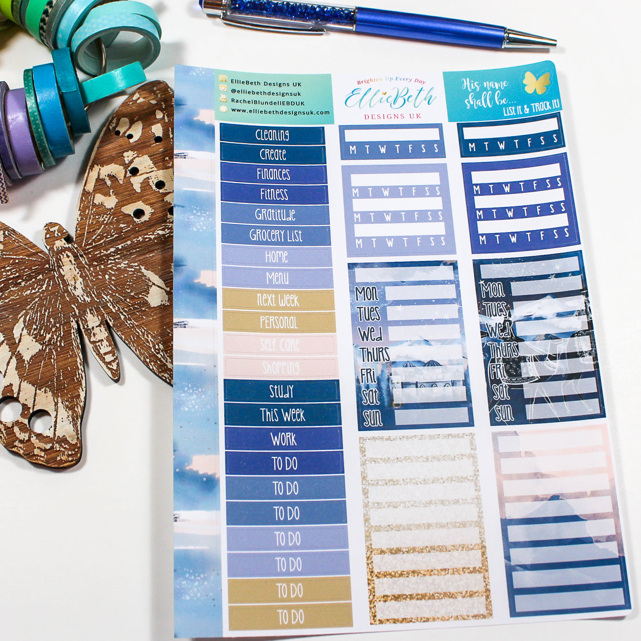 'His Name Shall Be' - List It & Track It -  A5 binder ready planner stickers