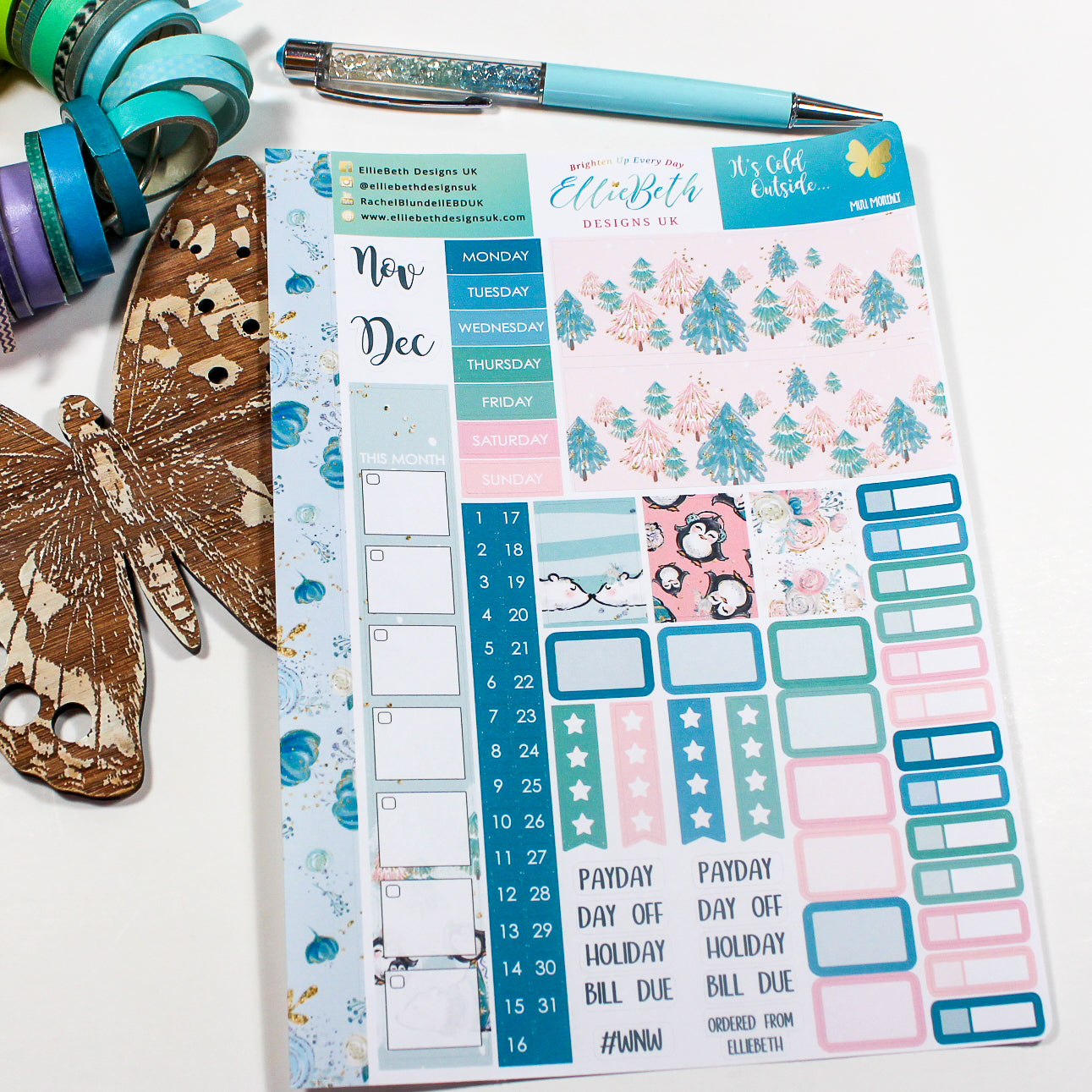 'It's Cold Outside' - Mini Monthly (Hobonichi Weeks compatible) - A5 binder ready planner stickers