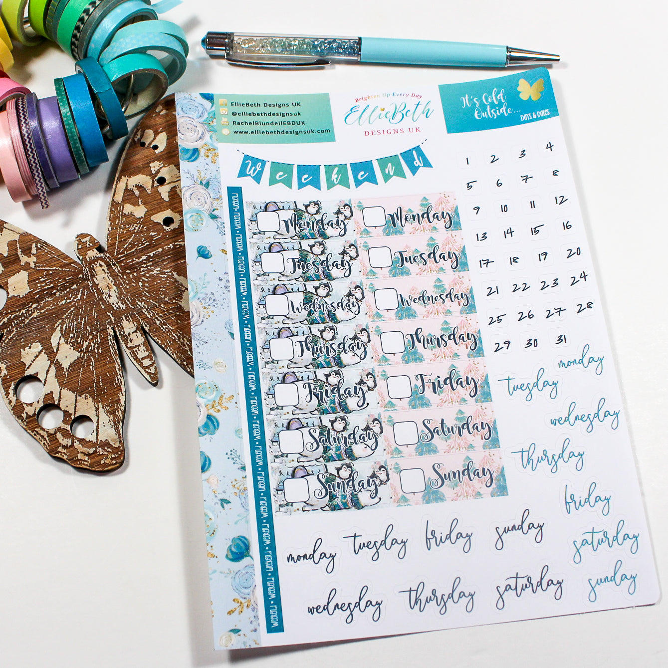'It's Cold Outside' - Days and Dates - A5 binder ready planner stickers
