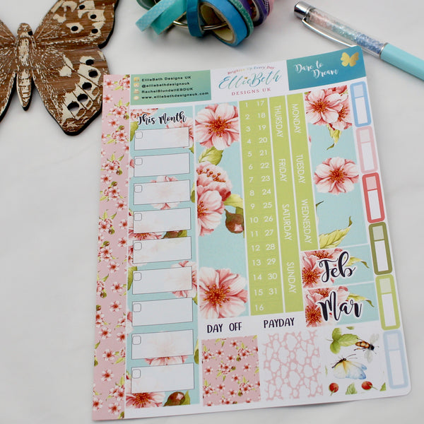 'Dare to Dream' - A5 Monthly View Kit - A5 binder ready planner stickers