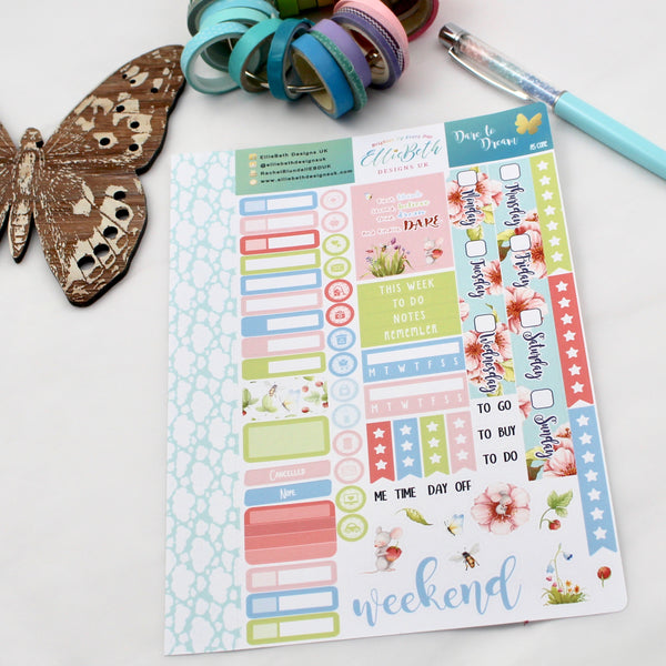 'Dare to Dream' - A5 Core Sheet - A5 binder ready planner stickers