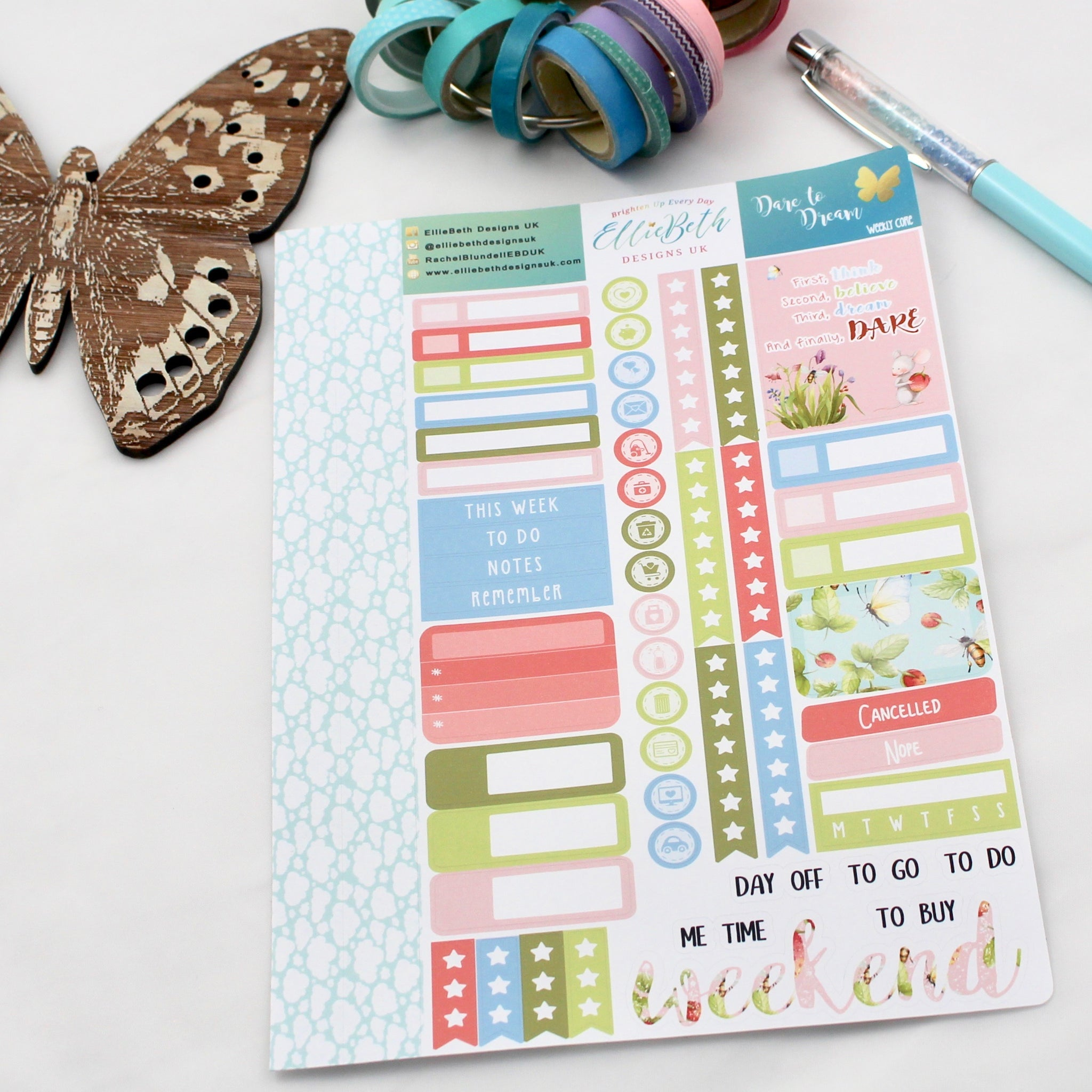 'Dare to Dream' - Core Sheet - A5 binder ready planner stickers