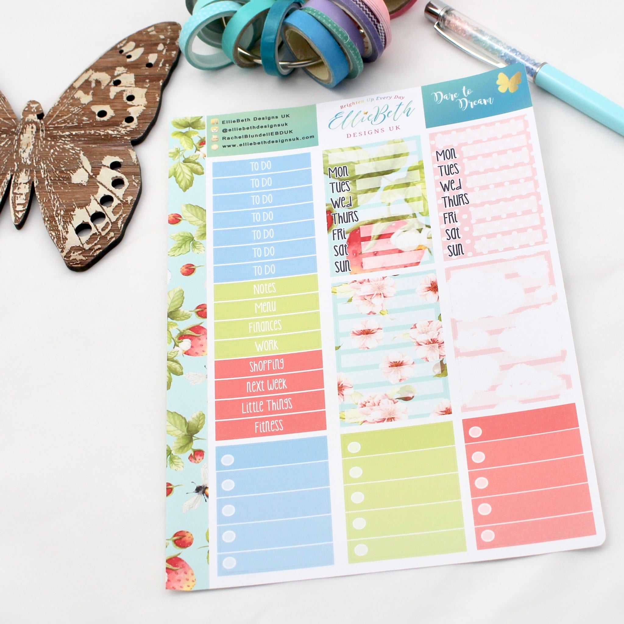 'Dare to Dream' - Make a List Sheet -  A5 binder ready planner stickers - EllieBeth Designs UK