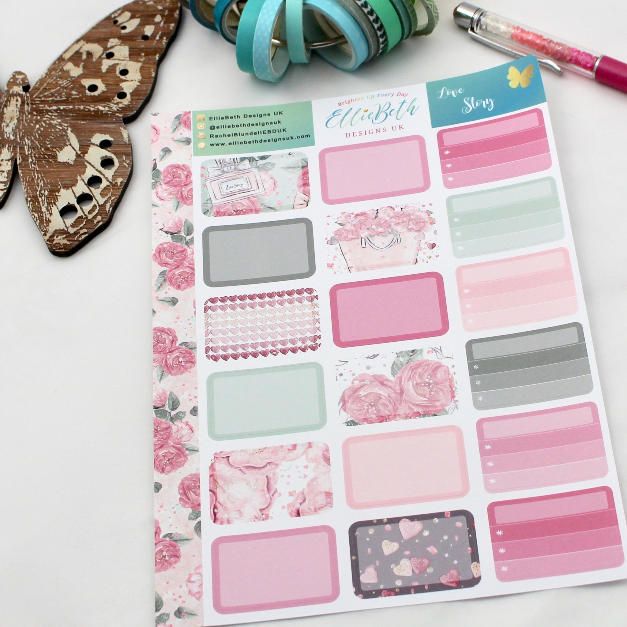 'Love Story' - Half Boxes -  A5 binder ready planner stickers - EllieBeth Designs UK