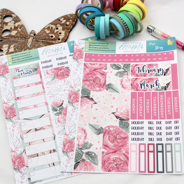 'Love Story' - Monthly View Kit -  A5 binder ready planner stickers - EllieBeth Designs UK