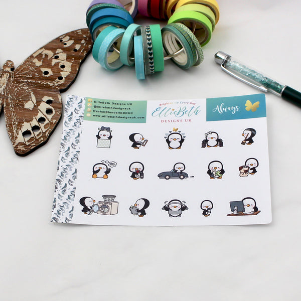 'Always' - A Penguin For Every Occasion -  binder ready planner stickers - EllieBeth Designs UK