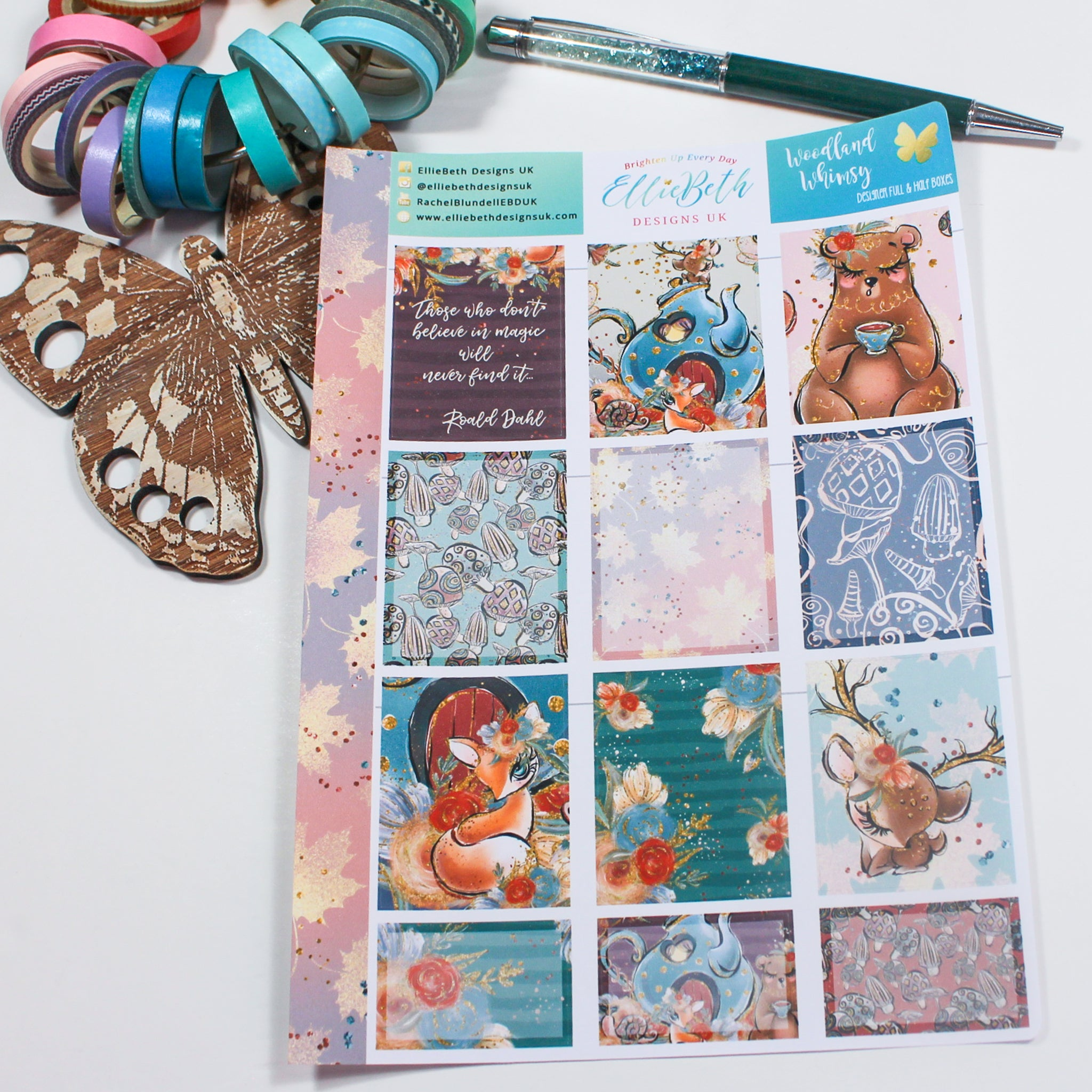 'Woodland Whimsy' - Designer Full and Half Boxes Sheet -  A5 binder ready planner stickers