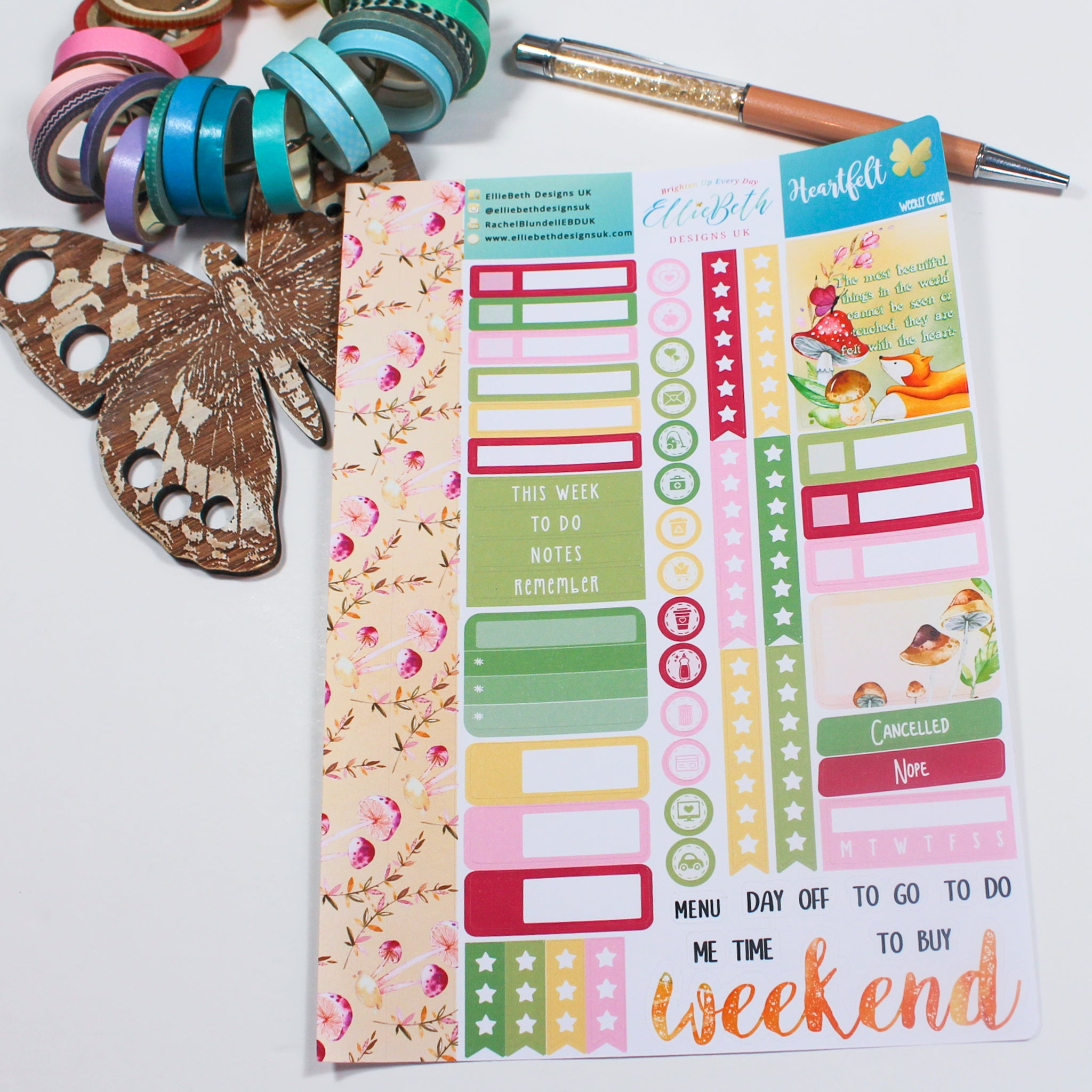 'Heartfelt' - Weekly Core Sheet - A5 binder ready planner stickers