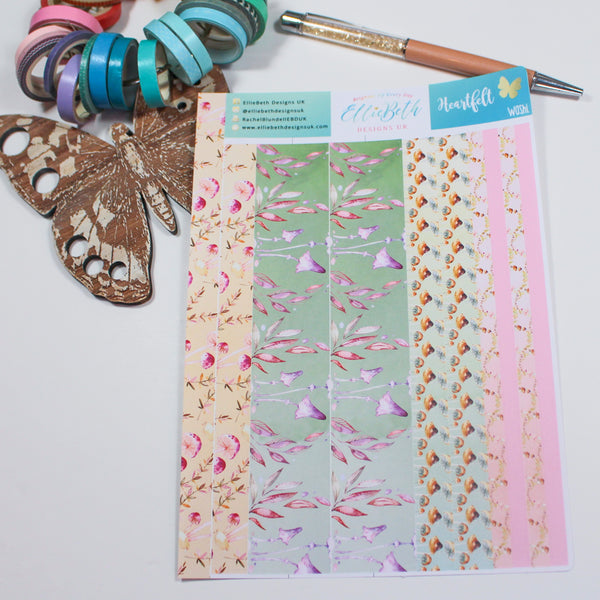 'Heartfelt' - Washi Strips -  A5 binder ready planner stickers