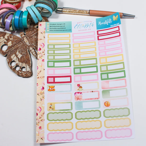 'Heartfelt' - Mixed Event Labels -  A5 binder ready planner stickers