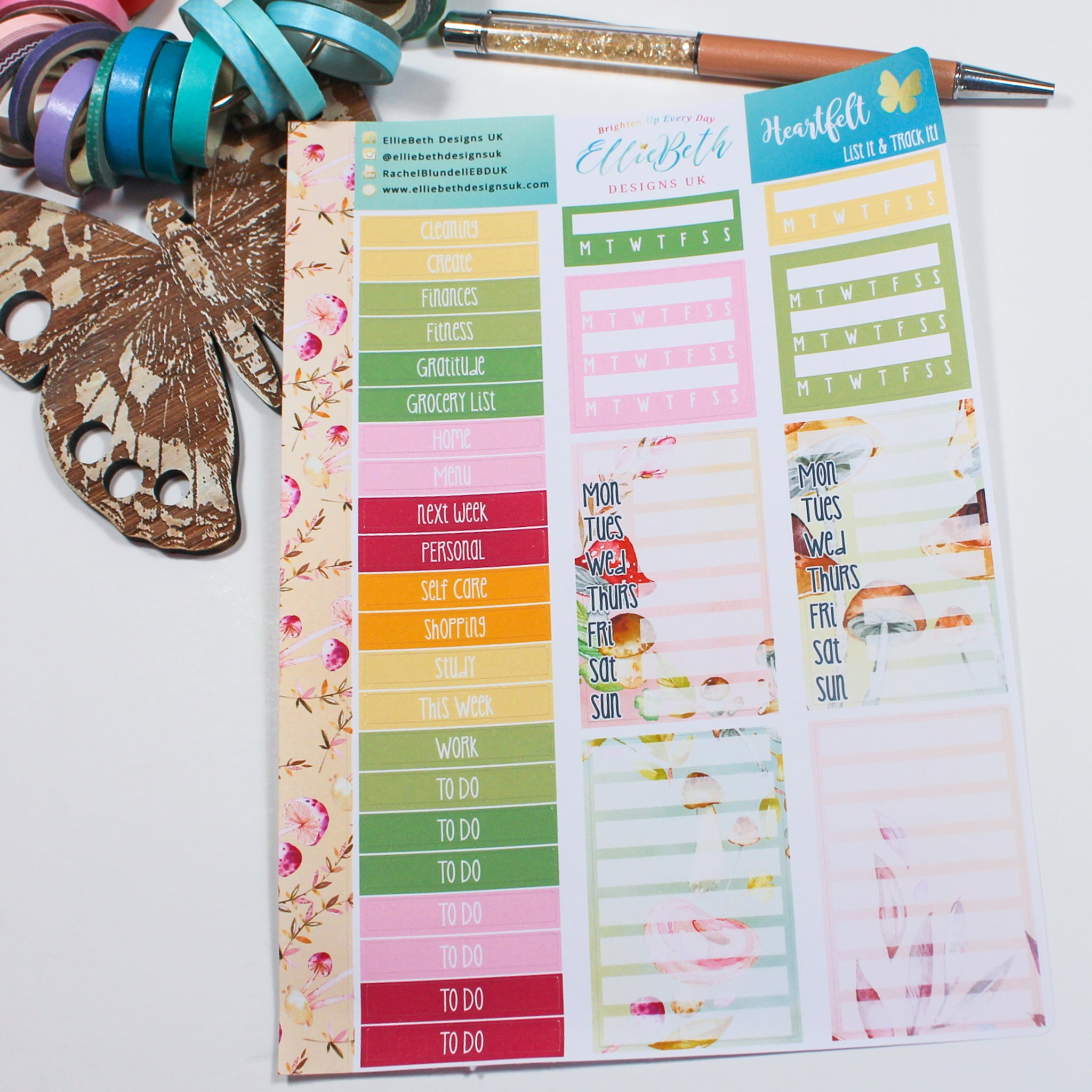 'Heartfelt' - List It & Track It -  A5 binder ready planner stickers
