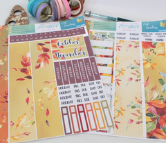 Leaf Crunching - Monthly View Kit -  A5 binder ready planner stickers - EllieBeth Designs UK