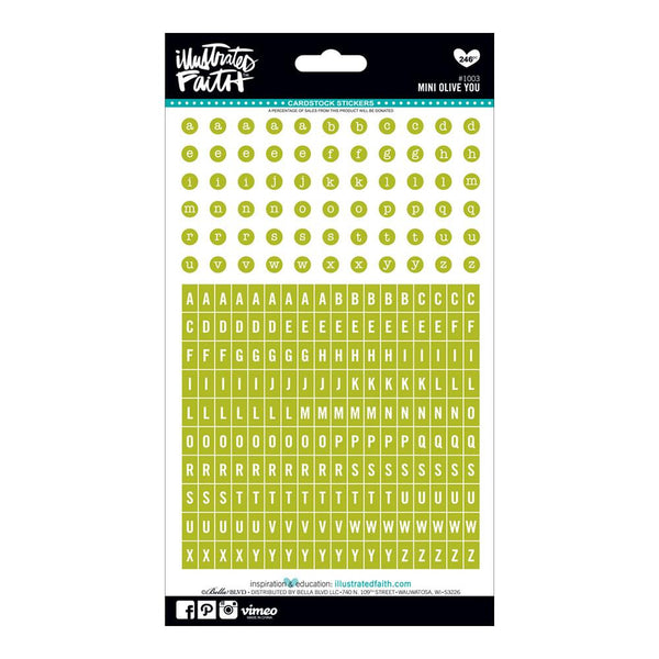 'Olive You' Mini Green Alpha Stickers by Illustrated Faith - EllieBeth Designs UK