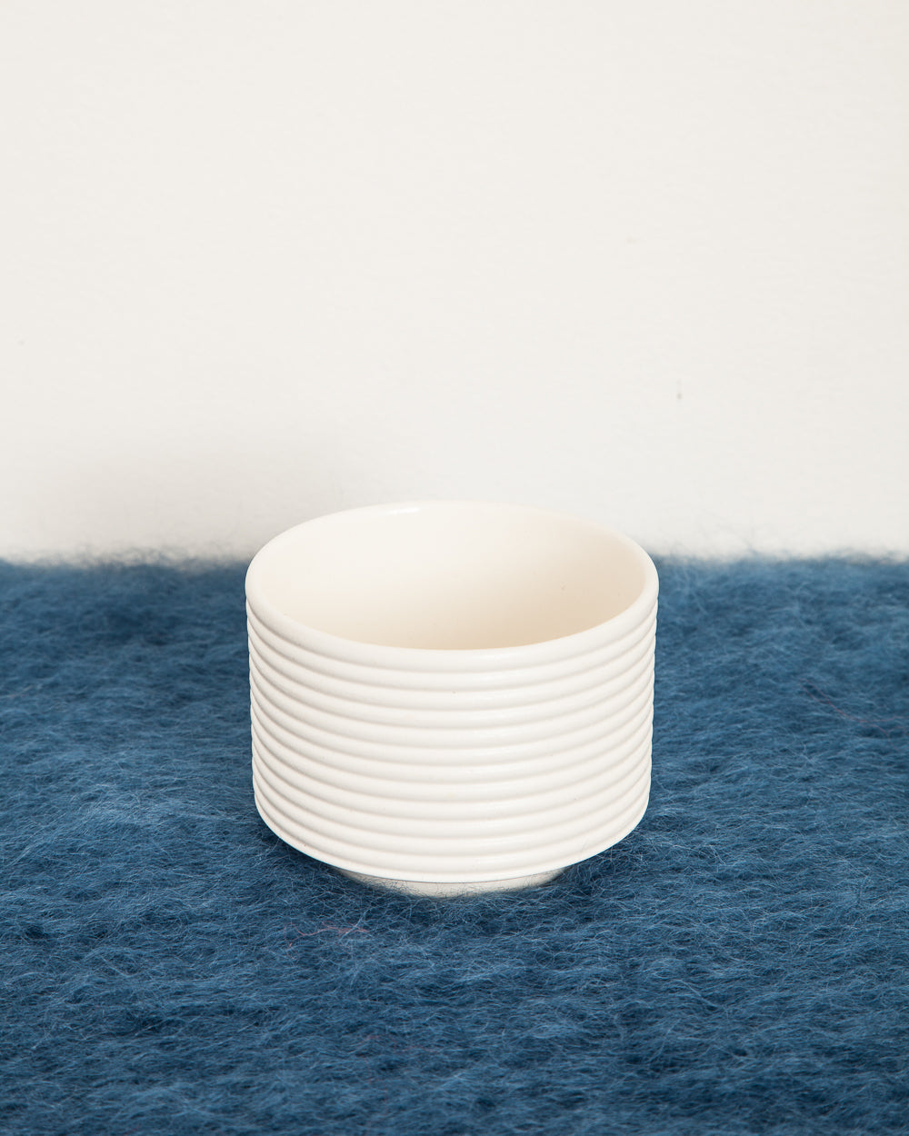 Tea Bowl in Ribbed White Ceramic
