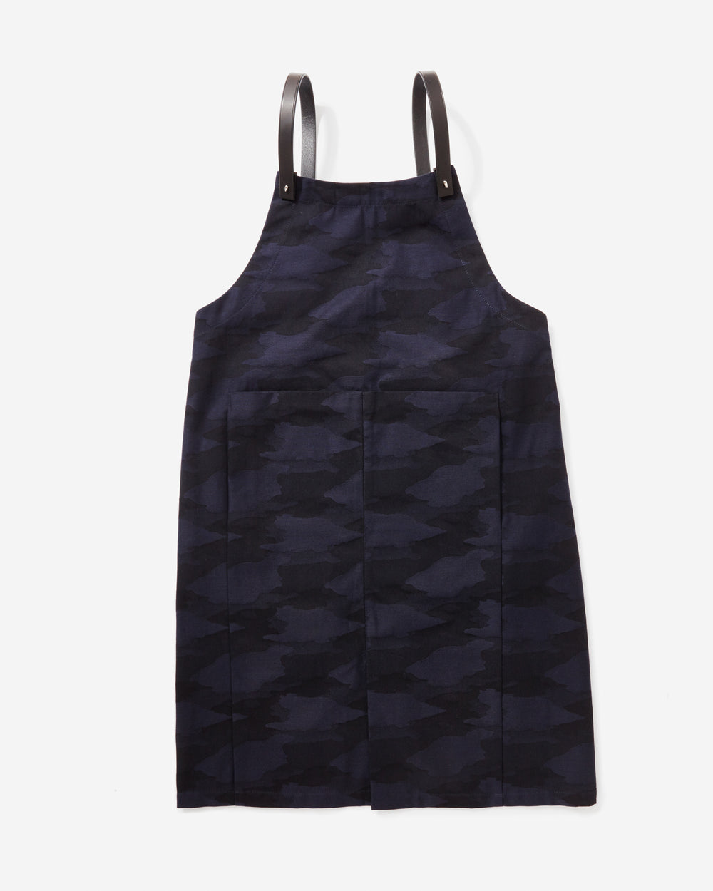 Apron in Jacquard with Black Leather Finishes