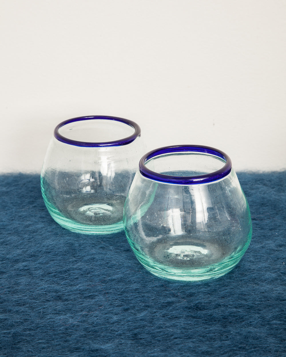 Kenyan Mouth-blown Drinking Glass with Blue Rim