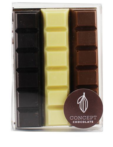 Chocolate bars filled with Coco, Moka and Hazelnut